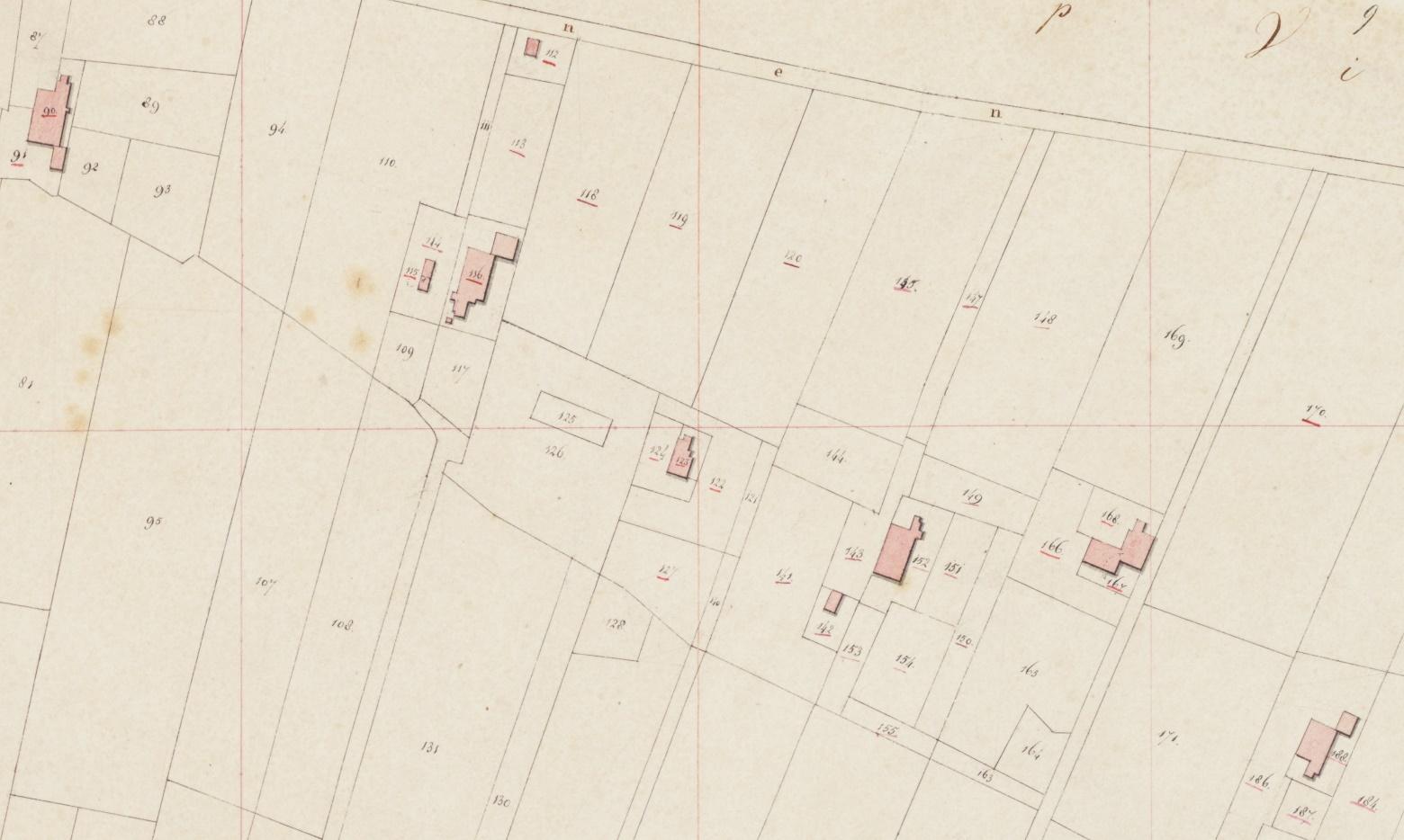 Situering aangekochte grond door Linze Siegers Schuurman op 25 april 1870. O.a. de nummers 148-155. De ouderlijke boerderij is nr. 116.