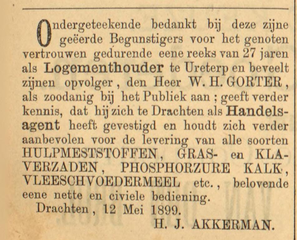 Leeuwarder Courant, 19 mei 1899. Hendrik Jilts Akkerman.