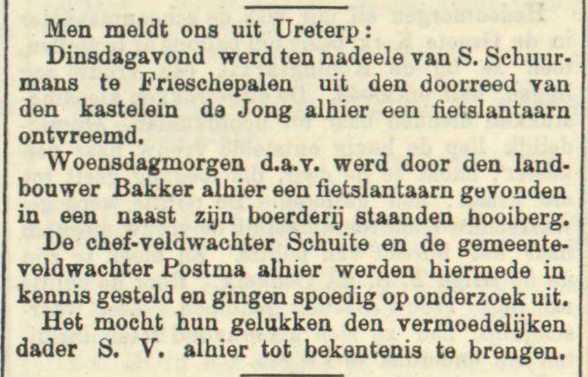 Leeuwarder Courant, 28 november 1908. Diefstal fietslantaarn