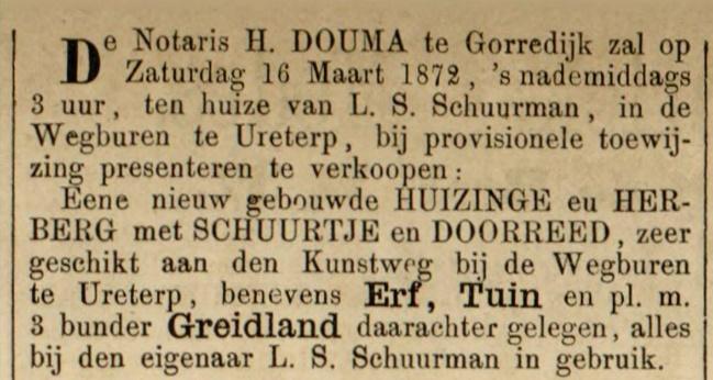 Leeuwarder Courant, 15 maart 1872. Aankondiging verkoop herberg van Linze Siegers Schuurman.
