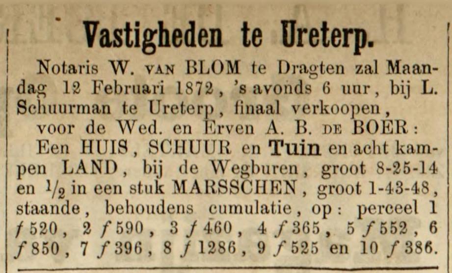 Leeuwarder Courant, 7 februari 1872. Aankondiging verkoping in de herberg van Linze Siegers Schuurman.